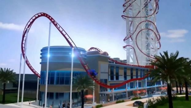 Artist rendering of the planned Sky Scraper roller coaster, the tallest in the world.